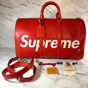 Authentic LOUIS VUITTON X Supreme Red Epi Keepall Bandouliere 45 travel LV bag